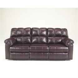 Signature Design by Ashley Furniture Kennard Leather Reclining Sofa in Burgundy