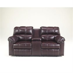 Ashley Furniture Kennard Double Reclining Leather Loveseat in Burgundy