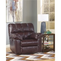 Ashley Furniture Kennard Power Rocker Leather Recliner in Burgundy