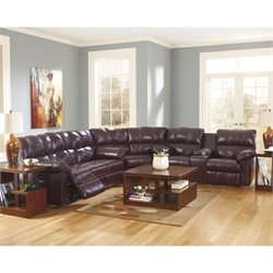 Ashley Furniture Kennard Leather Sectonal Sofa in in Burgundy