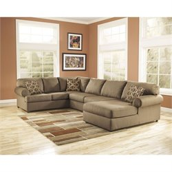 Ashley Furniture Cowan 3 Piece Right Chaise Sectional Sofa in Mocha