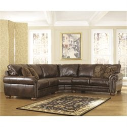 Signature Design by Ashley Furniture Walcot Leather Sofa Sectional in Antique