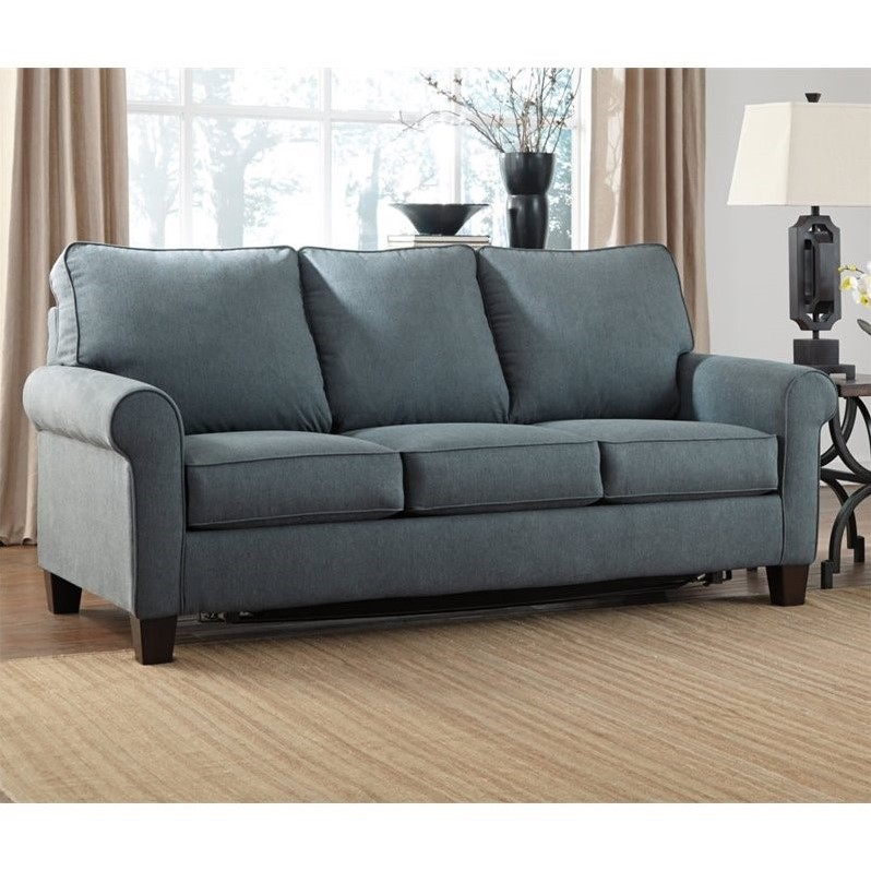 Ashley zeth fabric full size sleeper sofa in denim 2710136 Denim loveseat