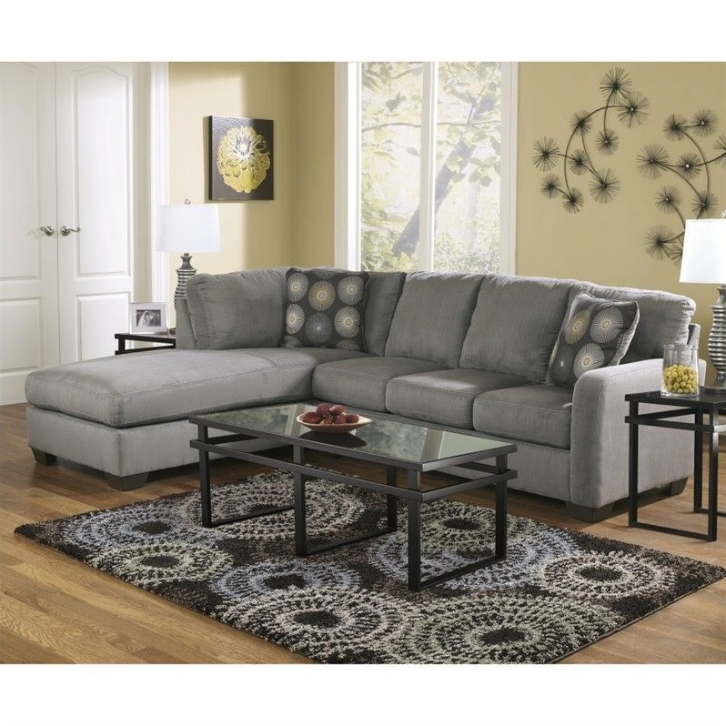 Ashley Furniture Zella Microfiber Sofa Sectional In Charcoal
