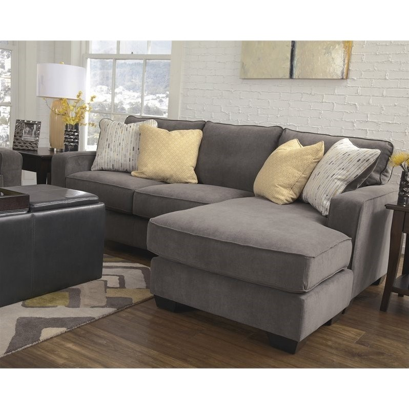 Ashley furniture hodan fabric 2 piece sectional in marble for Ashley chaise lounge sofa