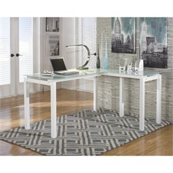 Signature Design by Ashley Furniture Baraga Glass L Home Office Computer Desk in White
