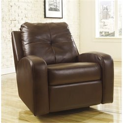 Signature Design by Ashley Furniture Mannix Leather Swivel Glider Recliner in Espresso