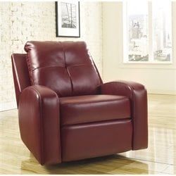 Ashley Furniture Mannix Leather Swivel Glider Recliner in Red