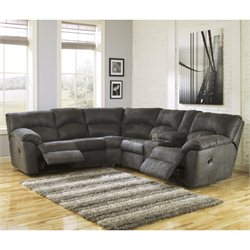 Signature Design by Ashley Furniture Tambo Fabric Reclining Sectional in Pewter