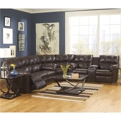 Ashley Furniture Kennard 3 Piece Leather Reclining Sectional in Chocolate