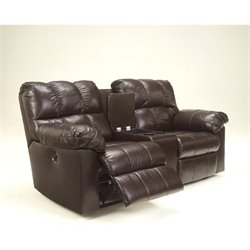 Signature Design by Ashley Furniture Kennard Double Leather Power Reclining Loveseat in Chocolate