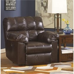 Ashley Furniture Kennard Leather Power Rocker Recliner in Chocolate