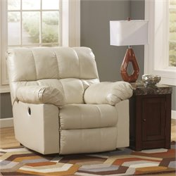 Ashley Furniture Kennard Leather Rocker Recliner in Cream