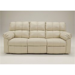 Ashley Furniture Kennard Leather Reclining Sofa in Cream