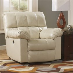 Ashley Furniture Kennard Leather Power Rocker Recliner in Cream