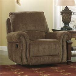 Signature Design by Ashley Furniture Macnair Fabric Swivel Glider Recliner in Umber Beige
