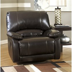 Ashley Furniture Capote Leather Swivel Glider Recliner in Chocolate