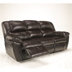Signature Design by Ashley Furniture Rouge Leather Power Reclining Sofa in Mahogany
