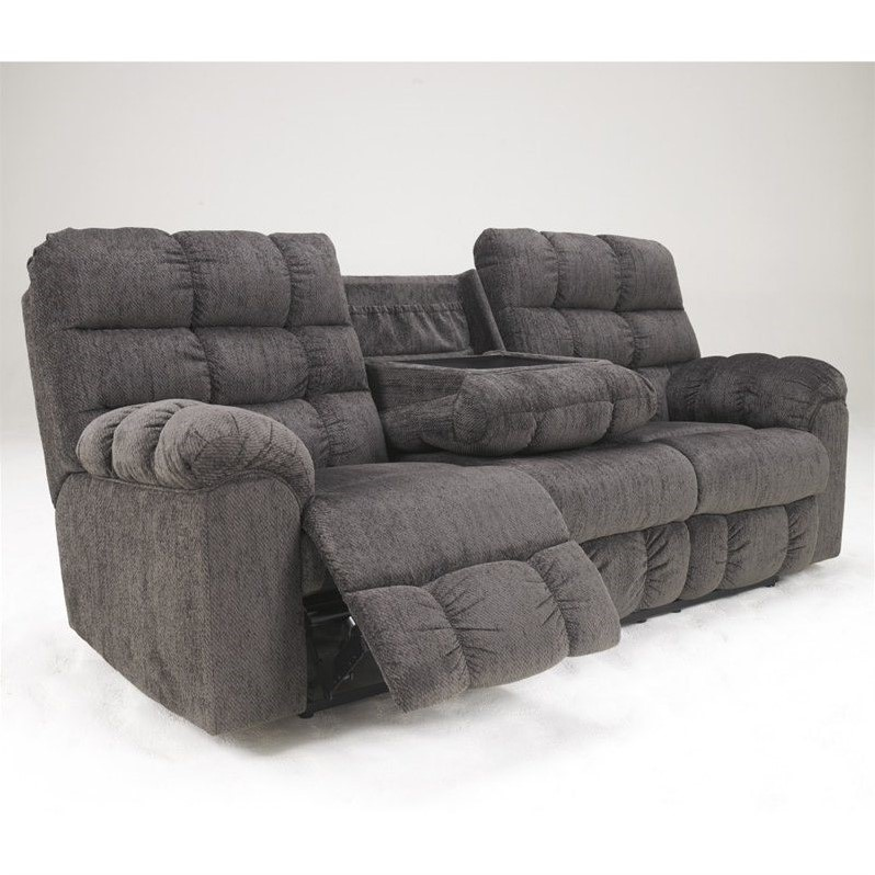Ashley Furniture Acieona Microfiber Reclining Sofa In