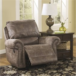 Signature Design by Ashley Furniture Oberson Microfiber Swivel Glider Recliner in Gunsmoke