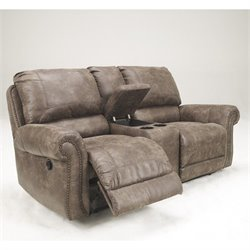 Signature Design by Ashley Furniture Oberson Double Microfiber Reclining Loveseat in Gunsmoke
