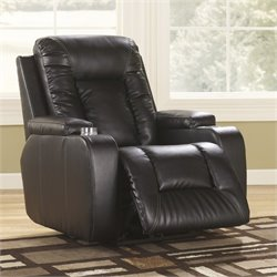 Ashley Furniture Matinee Leather Zero Wall Recliner in Eclipse