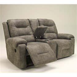 Signature Design by Ashley Furniture Rotation Double Microfiber Power Reclining Loveseat in Smoke