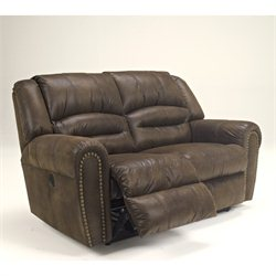 Signature Design by Ashley Furniture McNeil Leather Reclining Loveseat in Java