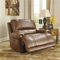 Signature Design by Ashley Furniture Paron Leather Zero Wall Power Recliner in Vintage