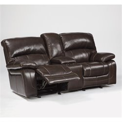Signature Design by Ashley Furniture Damacio Leather Glider Reclining Loveseat in Dark Brown