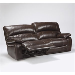 Ashley Furniture Damacio Leather Power Reclining Sofa in Dark Brown