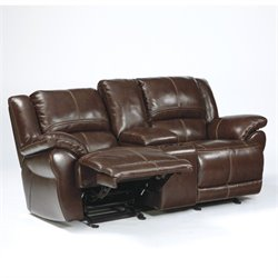 Ashley Furniture Lenoris Leather Glider Reclining Loveseat in Coffee