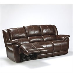 Ashley Furniture Lenoris Leather Reclining Sofa in Coffee