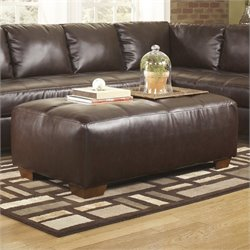Ashley Furniture Fairplay Leather Accent Ottoman in Mahogany