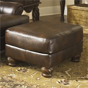 Ashley Furniture Fresco Leather Accent Ottoman in Old World