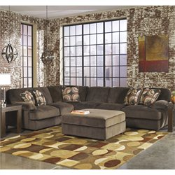 Signature Design by Ashley Furniture Truscotti 3 Piece Sectional in Cafe with Ottoman