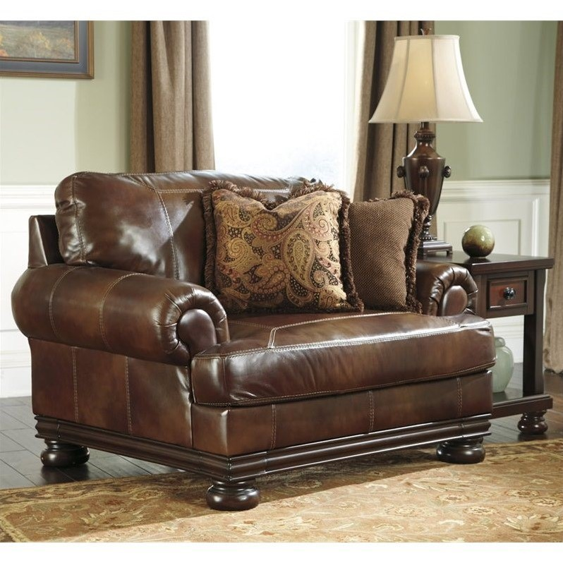ashley furniture hutcherson leather accent chair and a half in harness