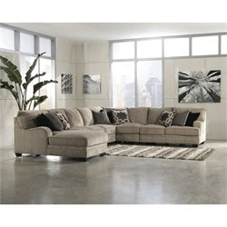 Signature Design by Ashley Furniture Katisha Fabric 5 Piece Sectional in Platinum