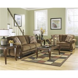 Signature Design by Ashley Furniture Montgomery Fabric Sofa Set in Mocha