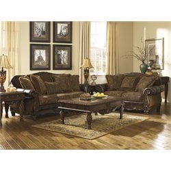 Signature Design by Ashley Furniture Fresco Durablend Fabric Sofa Set in Steel