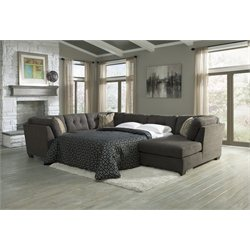 Signature Design by Ashley Furniture Delta City Sectional with Full Sleeper Sofa in Steel