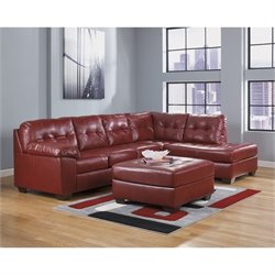 Ashley Furniture Alliston 3 Piece Leather Sectional with Ottoman