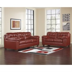 Ashley Furniture Alliston DuraBlend 2 Piece Leather Sofa Set in Salsa