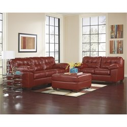 Ashley Furniture Alliston 2 Piece Leather Sofa Set with Ottoman