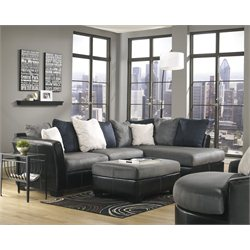 Signature Design by Ashley Furniture Masoli Right Sectional with Ottoman and Chair in Cobblestone