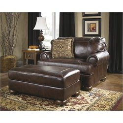 Ashley Furniture Axiom 2 Piece Leather Accent Chair Set in Walnut