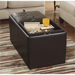 Ashley Deshan Faux Leather Ottoman with Storage in Chocolate