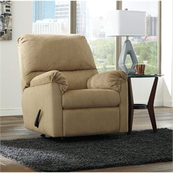Ashley Aluria Fabric Rocker Recliner in Mocha