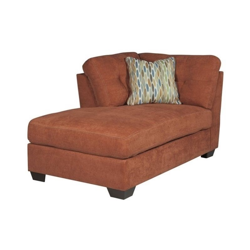 ashley delta city left corner chaise lounge in rust 1970116