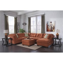 Ashley Delta City 4 Piece Right Sectional in Rust